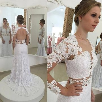 Long Sleeves Lace Pearls 2019 Mermaid Wedding Dress Open Back