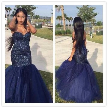 Trumpet/Mermaid Tulle Prom Dresses Beading Sweetheart Sleeveless Floor-Length ZZZ