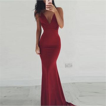 Long Sexy Burgundy Mermaid Spaghetti Straps Sleeveless Backless Prom Dresses 2019 Open Back For Short Girls