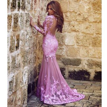 Purple Mermaid Long Sleeves Appliques Prom Dresses 2019