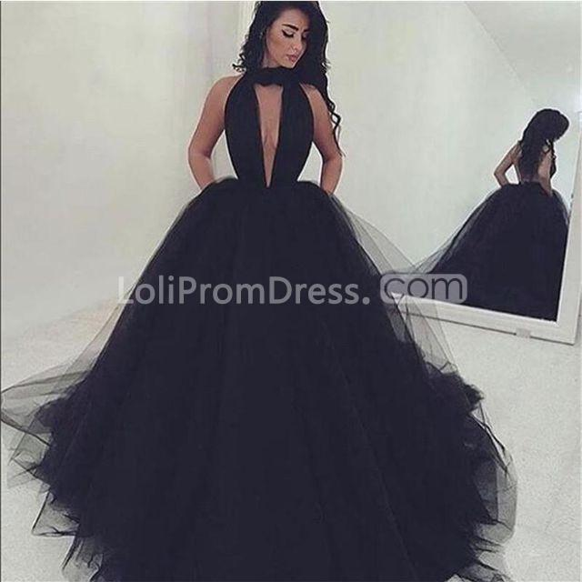 49 Off Long Sexy Black Ball Gown V Neck Sleeveless Prom Dresses 2019