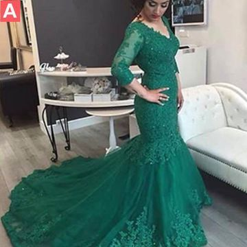 Long Elegant Green Mermaid V-Neck 3/4 Length Sleeves Appliques Prom Dresses 2019