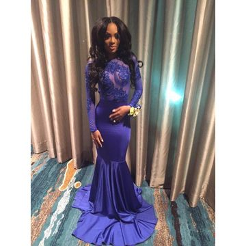 49%OFF Sexy Blue Mermaid Long Sleeves Backless Appliques Prom ... a2a619b83