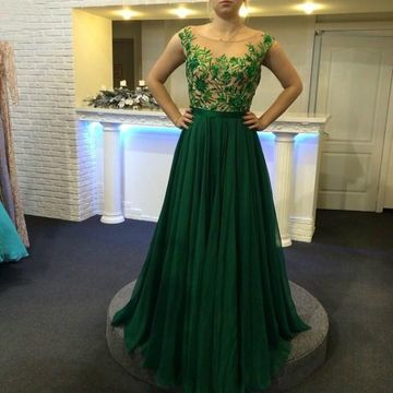5cdce71d1 49%OFF Long Junior Green A-line Capped Sleeves Zipper Appliques Prom ...