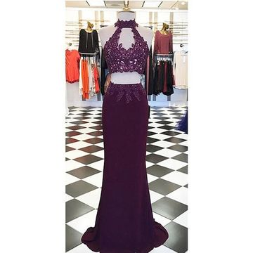Long Sexy Sheath Halter Sleeveless Corset Appliques Prom Dresses 2019 Two Piece