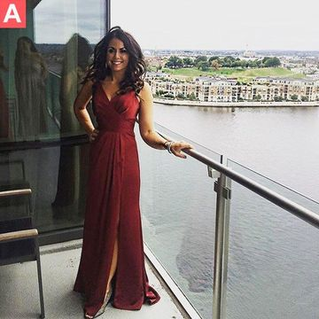 Long Sexy Red A-line V-Neck Sleeveless Backless Ruched Prom Dresses 2019 Open Back