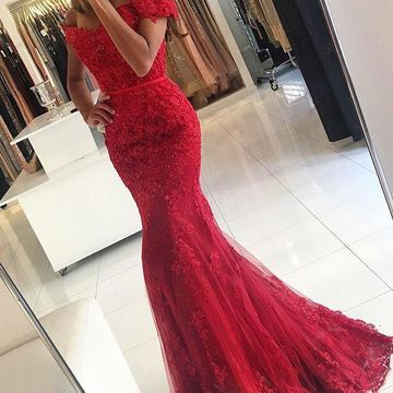 Long Sexy Red Mermaid Short Sleeves Appliques Prom Dresses 2019