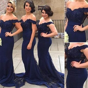 Long Sexy Blue Mermaid Zipper Appliques Bridesmaid Dresses 2019 Lace