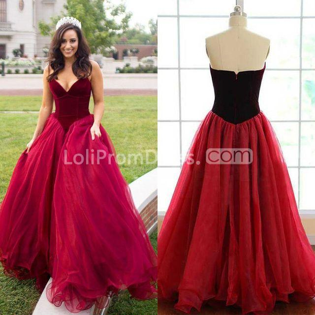 49off Long Sexy Red Ball Gown V Neck Sleeveless Zipper Prom Dresses