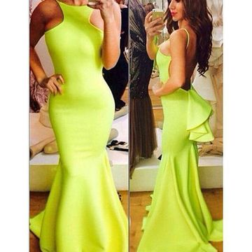 Long Sexy Green Mermaid Spaghetti Straps Sleeveless Backless Tiers Prom Dresses 2019 Open Back