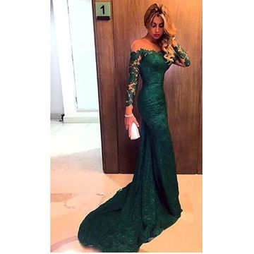 Sexy Green Mermaid Long Sleeves Off the Shoulder Prom Dresses 2019 Lace