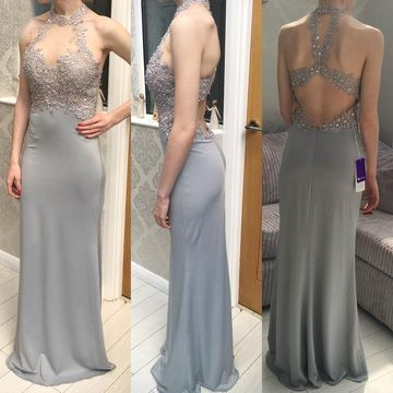 Long Sexy Grey Sheath Halter Sleeveless Backless Beading Prom Dresses 2019 Open Back
