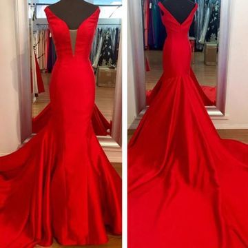 Long Simple Red Mermaid V-Neck Sleeveless Backless Prom Dresses 2019 Open Back