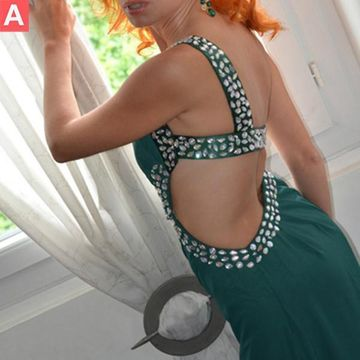 Long Sexy Green Sheath One Shoulder Sleeveless Backless Crystal Detailing Prom Dresses 2020 Open Back