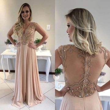 Long Sexy A-line V-Neck Sleeveless Zipper Appliques Prom Dresses 2019 Chiffon