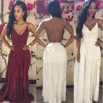 5522f379ca9 49%OFF Long Sexy Red A-line Spaghetti Straps Sleeveless Backless ...