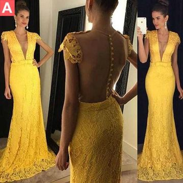 Long Sexy Yellow Mermaid V-Neck Capped Sleeves Zipper Appliques Prom Dresses 2019 Lace
