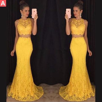 Long Sexy Yellow Mermaid Sleeveless Prom Dresses 2019 Lace Two Piece