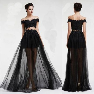 Long Sexy Black A-line Appliques Prom Dresses 2019 Two Piece