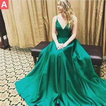 48d4c5c354a69 49%OFF Long Simple Green A-line Spaghetti Straps Sleeveless Prom Dresses  2019 V-Neck – lolipromdress.com
