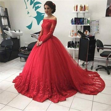 Red Ball Gown Off-the-Shoulder Long Sleeves Lace Prom Dresses 2020