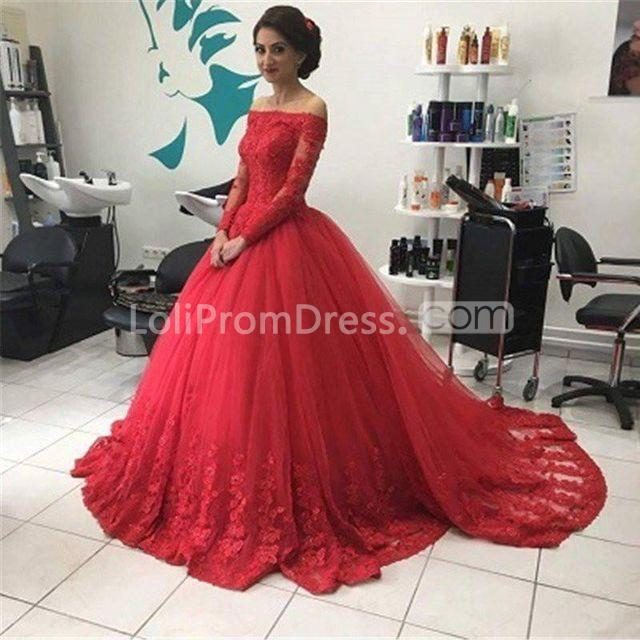 9ae9a8a57b9e65 49%OFF Red Ball Gown Off-the-Shoulder Long Sleeves Lace Prom Dresses ...