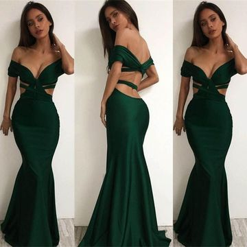 Long Sexy Mermaid Backless Prom Dresses 2019 Open Back
