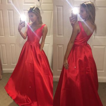 Long A-line V-Neck Sleeveless Zipper Prom Dresses 2019