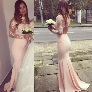 Mermaid High Neck Long Sleeves Backless Appliques Prom Dresses 2019 Open Back