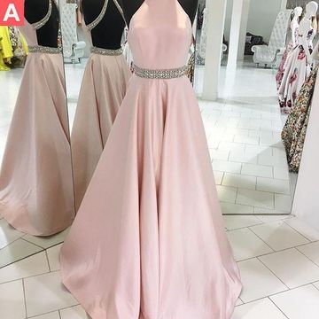 Long A-line Halter Sleeveless Backless Crystal Detailing Prom Dresses Ball Gowns 2019 Princess Open Back