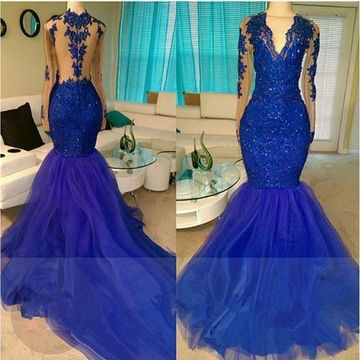 Sexy Blue Mermaid V-Neck Long Sleeves Zipper Appliques Prom Dresses 2019