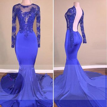 Sexy Blue Mermaid Long Sleeves Backless Appliques Prom Dresses 2019 Open Back
