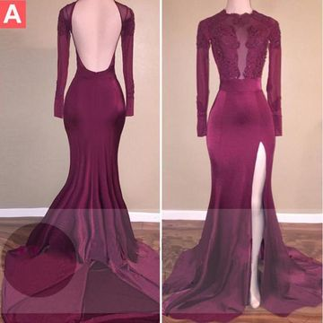 Sexy Burgundy Mermaid Long Sleeves Backless Beading Prom Dresses 2020 Open Back
