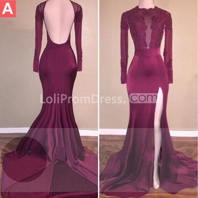 Jieruize White Simple Backless Wedding Dresses 2019 Ball: 49%OFF Sexy Burgundy Mermaid Long Sleeves Backless Beading