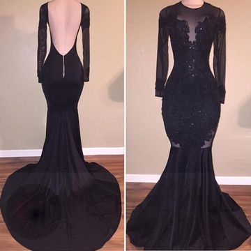 Sexy Black Mermaid Long Sleeves Backless Beading Prom Dresses 2019 Open Back