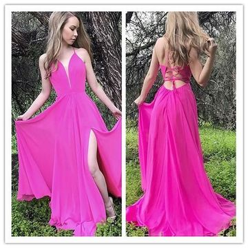 A-Line/Princess V-neck Floor-Length Evening Prom Dresses With Ruffle YYY