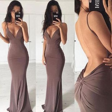 44c554890692 49%OFF Long Sexy Mermaid Spaghetti Straps Sleeveless Backless Prom ...