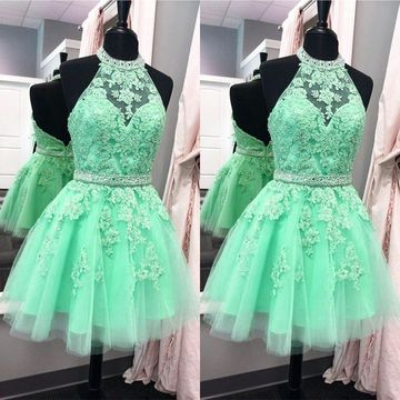 Cute Green A-line Halter Sleeveless Backless Appliques Homecoming Prom Dresses 2019 Open Back