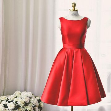 Simple Cute Red A-line Sleeveless Backless Homecoming Prom Dresses 2020 Open Back Vintage