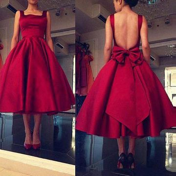 Vintage Red A-line Sleeveless Backless Prom Dresses 2020 Open Back