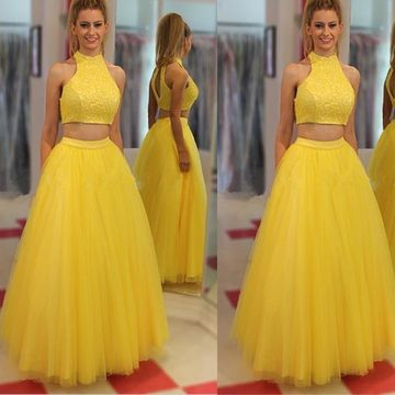 Long Yellow A-line Halter Sleeveless Prom Dresses 2019 Lace Two Piece
