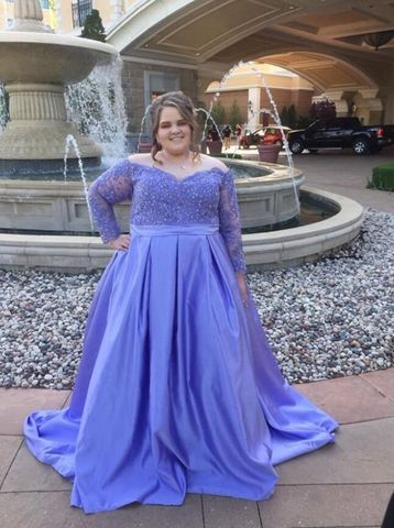 49 Off Plus Size Blue Ball Gown Long Sleeves Beading Prom