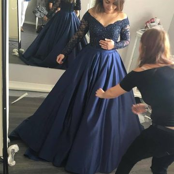 Plus Size Blue Ball Gown Long Sleeves Beading Prom Dresses 2019