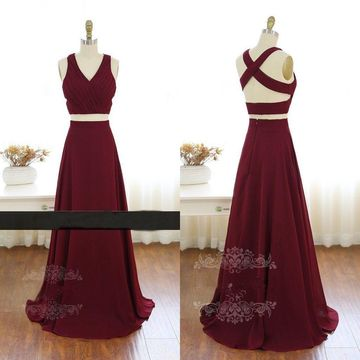 Long A-line V-Neck Sleeveless Backless Prom Dresses 2019 Open Back Chiffon Sexy Two Piece