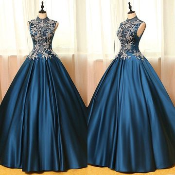 Long Vintage Blue Ball Gown High Neck Sleeveless Zipper Appliques Prom Dresses 2020