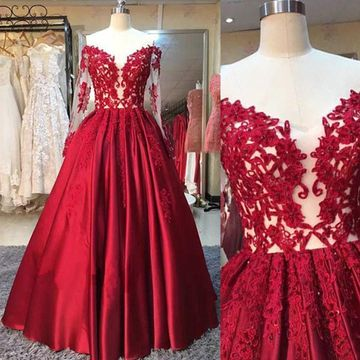 Red Ball Gown Long Sleeves Appliques Prom Dresses 2019