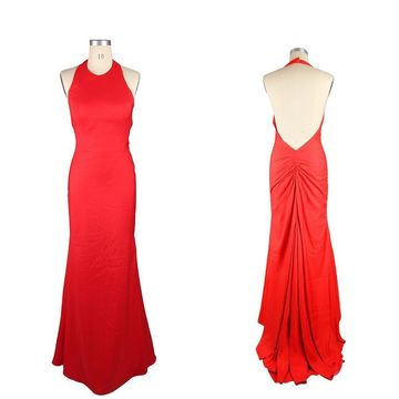 Cheap Long Sexy Red Mermaid Halter Sleeveless Backless Ruched Prom Dresses 2020 Open Back For Short Girls