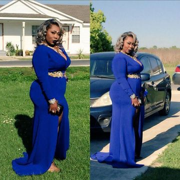 Plus Size African Sheath V-Neck Long Sleeves Beading Prom Dresses 2019 Sexy