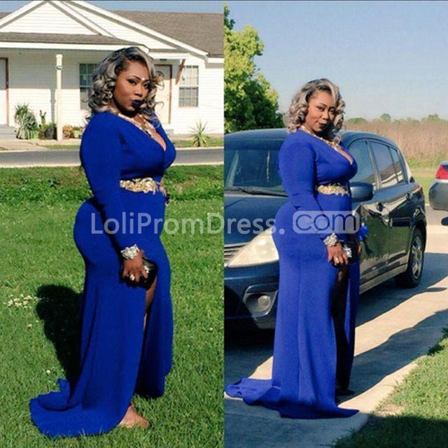 0322f49f13be 49%OFF Plus Size African Sheath V-Neck Long Sleeves Beading Prom ...