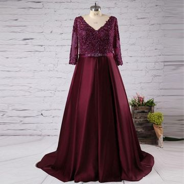 Burgundy A-line V-Neck 3/4 Length Sleeves Zipper Appliques Prom Dresses 2019 Plus Size